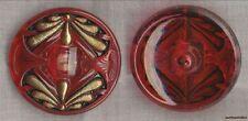 "Czech Glass Art Nouveau Gold Dragonflys on Red Transparent Button-1 5/8""=41.5mm"