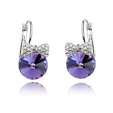 18k White Gold Plated Made With Swarovski Crystal Mickey Purple Hoop Earrings