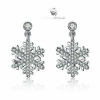 18k white gold gp made with SWAROVSKI crystal stud earrings snowflake