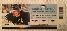 Pittsburgh Penguins/Washington Caps Ticket Stub 3/11/14  Featuring Sidney Crosby