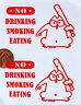 2 x Warning Stickers Sign No Drinking Smoking Eating Car Vehicle Taxi Window Red