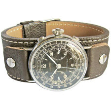 18mm Fluco Vigo German Mens Brown Riveted Cuff Leather Pilot Watch Band Strap