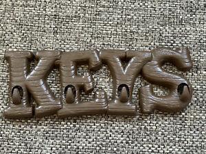 BURWOOD KEYS Wall Hanging Key Rack Organizer w/ Hooks BROWN LOG STYLE NEW PLASTI