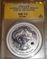 2012-P $1 Australia Purple Dragon Lunar Year Of The Dragon Colorized MS70 DCAM