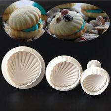 3Pcs/Set Shell Fondant Cake Decor Sugarcraft Plunger Cutter Mold Baking Tool New