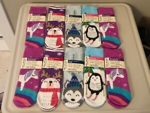 Bath & Body Works Sock Shea Infused Lounge Socks Non Skid Penguin Husky Unicorn