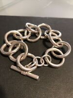 Vintage Sterling Silver Bracelet Large Chain Link Chunky 925 Mexico.