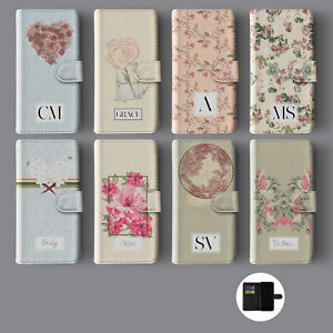 FLORAL FLOWERS ROSES DAISIES PERSONALISED INITIALS WALLET PHONE CASE FOR IPHONE
