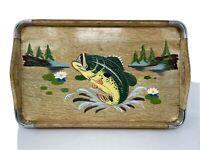 Vintage Wood  Hand painted Fish Bar Tray 15x10 Metal Corners