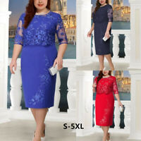 Elegant Women Lady Lace Half Sleeve Cocktail Evening Party Midi Dress S-5XL