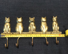 """12"""" Brass 5 Hook Cat Wall Hanging Hooks"""