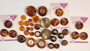 36 Vintage Marbled Root Beer Bakelite Lucite Plastic Buttons OME Original Cards