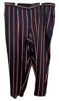 RALPH LAUREN Women's Plus Striped Polyester Ankle Pants, Navy, Size 14W