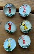 ANTIQUE GLASS BUTTONS - VINTAGE - (6 pcs) Lady Golf Paperweight Red Yellow Multi
