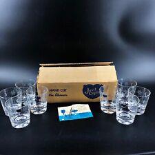 Vtg Javit Starflower Cut Crystal Old Fashions Glasses Set of 8 in Orig Box Mcm