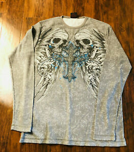 MMA Elite Thermal Gray Long Sleeve Shirt Skulls Wings Cross Sz XL