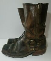 Men's Double H Harness Distressed Western Biker Boots Brown Size 10 D