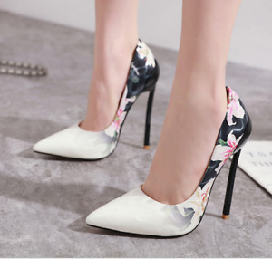 Womens Super High Heels Pointed Toe Floral Stilettos Pumps Fashion Lady Shoe NEW