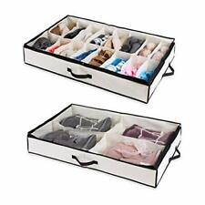 Woffit Under the Bed Shoe Organizer Fits 16 Pairs + 4 Pairs Boots – Sturdy &