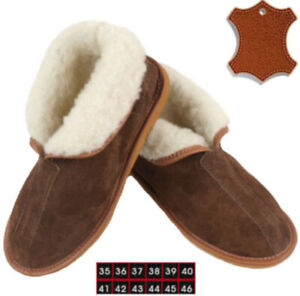 Chaussons Pantoufles Bottines Chaud 100% Fourrure Laine Cuir Daim Mouton Marron
