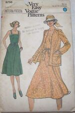 Vintage Very Easy Vogue 9756 Misses' A-line dress jacket Sewing Pattern size 12