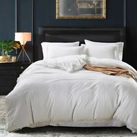 Washed Cotton Soft Solid Duvet Cover Set Twin/Queen/King Size Bedding Set