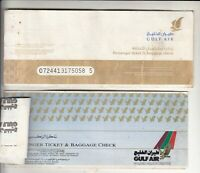 GULF AIR LOT OF 2 DIFFERENT PASSENGER TICKET AND BAGGAGE CHECK