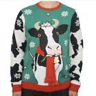 Jolly Sweaters Men's Ugly Cow Christmas Sweater With Bell XXL 2X Red NWT Tacky