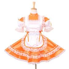 Sissy Maid Orange Satin Locking Dress Uniform Cosplay Costume