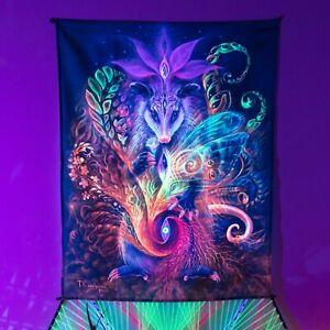 Magic Animal Tapestry, Shamanic Backdrop, Esoteric UV Tapestry, Meditation Art