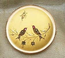 Antique Victorian Era Gold Plated Seed Pearl & Garnet Birds  Brooch