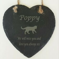 Personalised Engraved Hanging Slate Heart Cat Pet Memorial Grave Marker Plaque