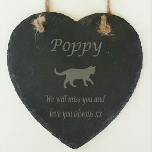 Personalised Engraved Hanging Slate Heart Cat Pet Memorial Grave Marker Plaque