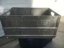"""Vintage FISHER BAKING CO. Bread Grocery Store Gas Oil 25"""" Embossed Metal Crate"""