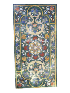 Green Marble Dining Table Top Scagliola Art Inlay Handicraft Kitchen Arts H3012