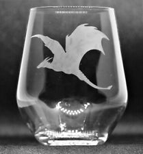Hand Etched Stemless Wine Glass/Tumbler With Dragon Image