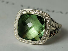 David yurman Albion Ring with 11mm Prasiolite and diamonds, size 7