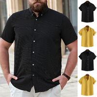 Men's Striped Hawaiian Short Sleeve T shirt Summer Beach Party Baggy Shirts Tops