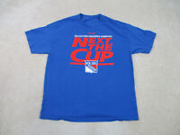 Reebok New York Rangers Shirt Adult 2XL XXL Blue Red NHL Hockey Stanley Cup Mens