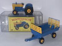 LESNEY MATCHBOX BLUE/YELLOW #39 & #40 FORD TRACTOR & HAY TRAILER - ORIGINAL BOX