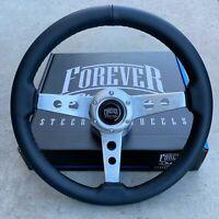 "350mm 14"" Black Leather Steering Wheel - Sebring Brushed Aluminum Spokes"