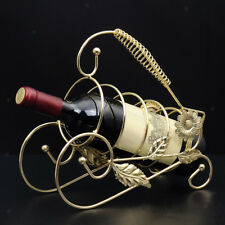 Iron Wire Wine Bottle Holder Rack Bar Desktop Display Stand Bracket Golden