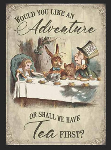 Alice in Wonderland Tea Party Retro Metal Sign Plaque Gift Home Decor Shed Tin