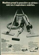 Publicité ancienne aspirateur Moulinex 1970 issue de magazine