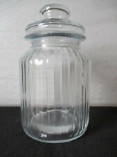 Bocal neuf Grande Bonbonnière en verre cotelé