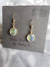 Molly B. Earrings New on Original Card Yellow Green Round Tahoe Fire Glass By