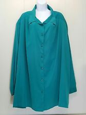 Maggie Barnes 6X Blouse Shirt Top Green Button Front Plus Size Career Polyester