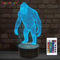 Ape Gorilla 3D Night Light, LED Lamp Baby Nursery Cute Monkey 16 Color Change