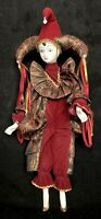 Mardi Gras Clown Jester Animated Musical Porcelain Doll 17""