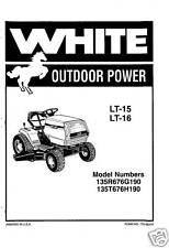 White LT-15 & LT-16 Lawn Tractor Owners Manual